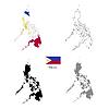 Vektor Cliparts: Philippinen Land schwarze Silhouette und mit Fahne