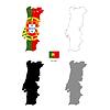 Vektor Cliparts: Portugal Land schwarze Silhouette und mit Fahne