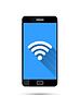 Vektor Cliparts: Realistische schwarzen Smartphone mit WiFi-Symbol auf blauem
