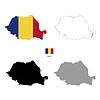 Vektor Cliparts: Rumänien Land schwarze Silhouette und mit Fahne