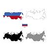 Vektor Cliparts: Land Russland schwarze Silhouette und mit Fahne