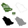 Vektor Cliparts: Saudi-Arabien Land schwarze Silhouette und mit