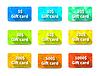 Vektor Cliparts: Set von neun Geschenkkarten anderen Wert und Farben