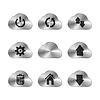 Vektor Cliparts: Set von neun Metall Cloud Icons mit verschiedenen