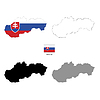 Vektor Cliparts: Slowakei Land schwarze Silhouette und mit Fahne