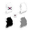 Südkorea Land schwarze Silhouette und mit Fahne