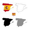 Vektor Cliparts: Spanien Land schwarze Silhouette und mit Fahne