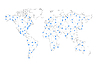 Vektor Cliparts: Telekommunikationsverbindungsleitungen, Weltkarte