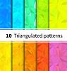 Vektor Cliparts: Zehn triangulierter nahtlose Muster in Regenbogenfarben