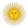 Vektor Cliparts: Retro Sonne, helle Farbe