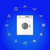 Vektor Cliparts: Weiße Waschmaschine mit Wäsche-Symbole auf blauem
