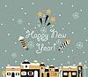 Векторный клипарт: С Новым годом Поздравительная открытка, зимний город