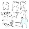Vektor Cliparts: Set lächelnd gesunde Zähne Paste