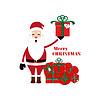 Sankt präsentiert Santa Claus, der etwas darstellt