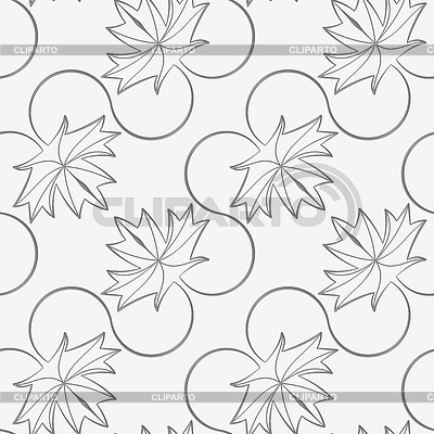 Perforated diagonal maple leaves on vine seamless geometric background