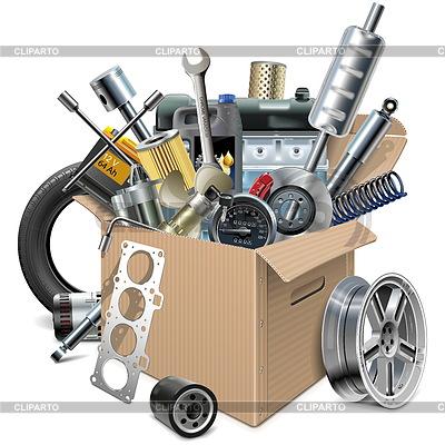 Caja de cartón con repuestos de coches | Ilustración vectorial de stock |ID 5459639