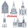 Vector clipart: Germany landmark architecture cathedrals icons