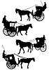 Vector clipart: B&W silhouette of Old London horse cab with