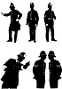 Vector clipart: Set of Old London Policemen. Vector B&W illustration
