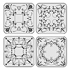 Vector clipart: Decorative finishing ceramic tiles. B&W