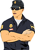 Vector clipart: Policeman on duty. 3d vector color illustration