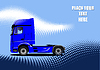 Vector clipart: Vector 3d illustration of blue  truck. Lorry