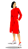 Vector clipart: Silhouette of fashion woman in red. Vector 3d