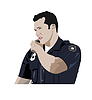 Vector clipart: Policeman with walkie-talkie radio. Vector 3d