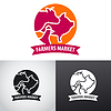Vector clipart: farm animals market logo