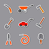 Vector clipart: garden tools stickers