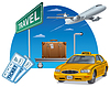 Vector clipart: travel and transport with tickets