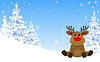 Vector clipart: Cute deer in winter forest