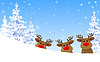 Vector clipart: Reindeer in winter forest