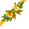 Vector clipart: Gold Bow with Fir Branch