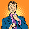 Vector clipart: man in suit and pink shirt dude