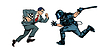 Vector clipart: intelligence versus strength. chess player and