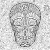 Vector clipart: human skull made of flowers