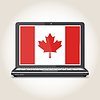 Vector clipart: Flag of Canada screensaver on notebook