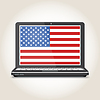 Vector clipart: Flag of america screensaver on notebook