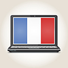 Vector clipart: Flag of France screensaver on notebook