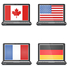 Vector clipart: Set of notebooks with screensaver flag, America,