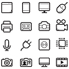 Vector clipart: Technology thin line icon set