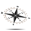 Vector clipart: Flat compass rotated with shadow