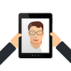 Vector clipart: Self on tablet with hands
