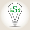 Vector clipart: Light bulb with dollar icons in middle