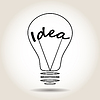 Vector clipart: Light bulb with word idea in middle