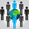 Vector clipart: People are standing front and rear of world map