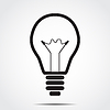 Vector clipart: Icon bulb with shadow