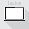 Vector clipart: Laptop in flat on gray background