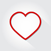 Vector clipart: Icon heart flat on gray background